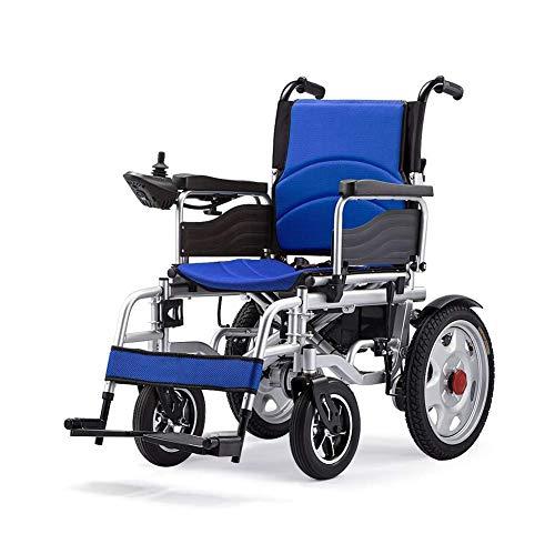 SHENGLLA Elektro-Rollstühle, Folding automatischer gebrauchte zapf Elektro-Rollstuhl für ältere Menschen Automatische Intelligente vierrädrige Scooter,Blau