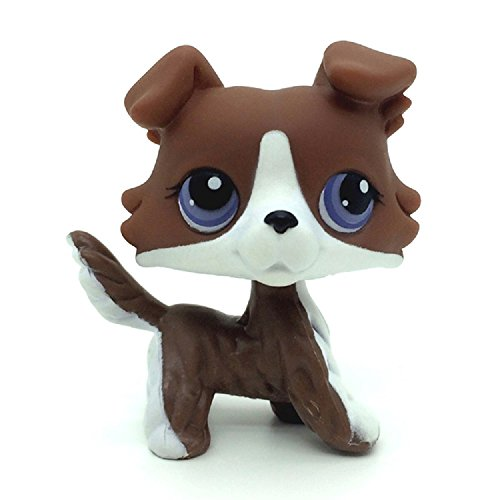 Littlest Pet Shop Rare Brown Collie Dog with Purple Eyes #NO LPS