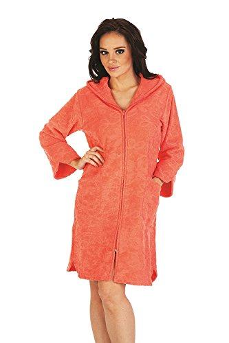 FOREX Lingerie Peignoir/Robe de Chambre Souple et Hyper-coloré avec Zip Pratique et Capuche Moelleux, Orange, XL