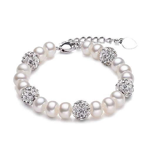 NOBRAND Real Hermosa Pulsera de Perlas de Agua Dulce Mujeres Boda Cultivada Pulsera de Perlas Blancas 925 Joyas de Plata Chica Caja de Regalo de cumpleaños Pulsera de Perlas Rosadas