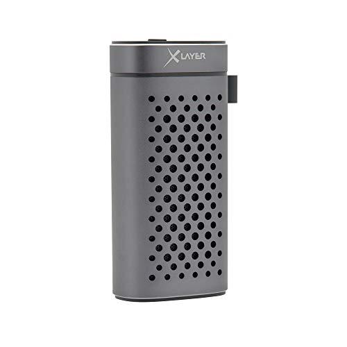 XLayer Powerbank PLUS Speaker 4.000mAh, Externer Akku für Smartphone und Tablet mit 5W Bluetooth Speaker und Freisprechfunktion, Space Grey