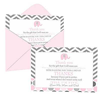 Pink Elephant Baby Shower Thank You Cards with Envelopes (15 Pack) Jungle Anima Theme Supplies – Cute Notecard Thanks from Baby Girls - A6 Flat Stationery Set Printed (4 X 6 inches) from