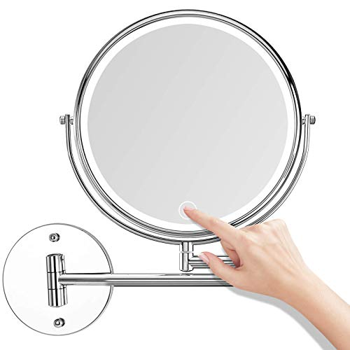 AUPERTO LED Kosmetikspiegel Wandmontage, 1x/5x Fache Vergrößerung Touchscreen Schminkspiegel Beleuchtet 360° Schminkspiegel für Badezimmer (7-Zoll)
