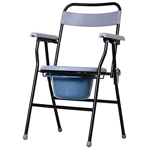 Chaise percée - chaise de douche pliable - seau amovible, accoudoirs - métal époxy noir PP gris