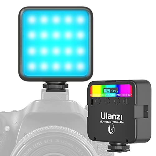 LED Videoleuchte RGB mit Eingebautem Akku, Mini Dimmbare Videolicht 2500K-9000K, Kamera Licht Dauerlicht, Klein Tragbar Mini Fotolampe für tragbare Fotolichter mit magnetischer Anziehung