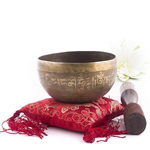 Cuenco tibetano del Himalaya Silent Mind, diseño precioso, dorado
