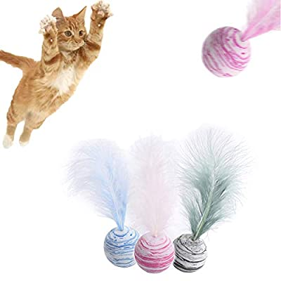 ICOUVA Cat Interactive Toy Play Ball with Feather Teaser Cat Teeth Grinding Chew Toy kitten Scratch Trow Toy 3 Packs