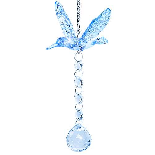 Herefun Colgante de Prisma, Colgante de Cristal de Colibrí con Bola de Cristal, Prisma de Cristal Transparente para Decoraciones de Jardín Oficina Ventanas (Azul A)