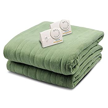 Biddeford 1023-9032108-633 Comfort Knit Fleece Electric Heated Blanket Queen Sage