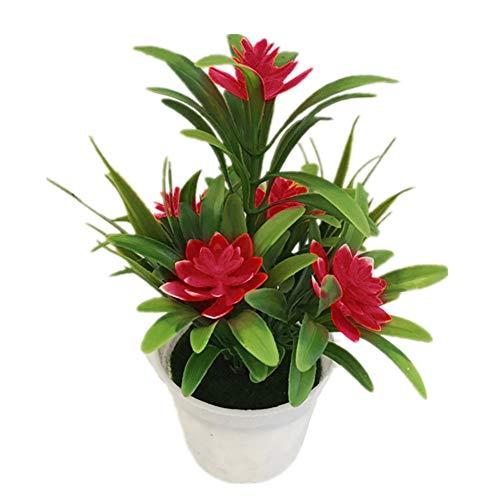 HCHD Flor Falsa Artificial Planta en Maceta Bonsai para Navidad Año Nuevo Fiesta de Boda Jardín Decoración para el hogar Plantas Falsas Flores Artificiales (Color : Rojo)