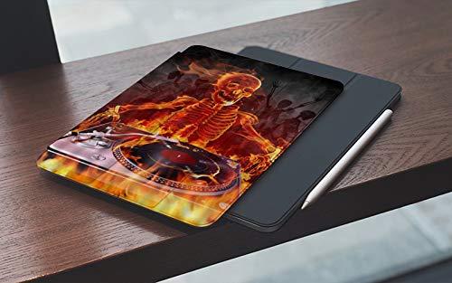 MEMETARO Funda para iPad 10.2 Pulgadas,2019/2020 Modelo, 7ª / 8ª generación,DJ Skull Burning Fire Human Skeleton Music Novedad Diseño, Smart Leather Stand Cover with Auto Wake/Sleep