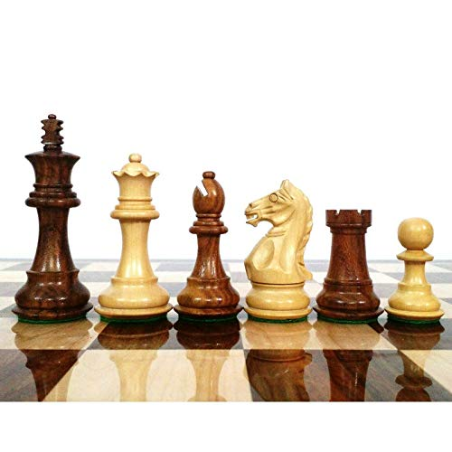 """RoyalChessMall- 3.5"""" Fierce Knight Staunton Chess Pieces Only Set - Golden Rosewood - Weighted Chess Set…"""