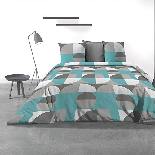 Les Ateliers du Linge - Parure Knavy pour lit Double Adulte – Housse de Couette 240x260 cm et 2 taies d'oreiller 63x63 cm – Motif géométrique imprimé