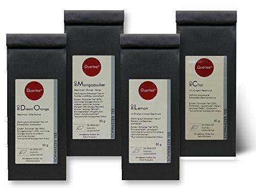 Quertee Nr. 34 - 4 x 50 g Biotee Schwarzer Tee | Schwarztee Geschenkset Probierset | Dream Orange - Mangozauber - Lemon - Chai