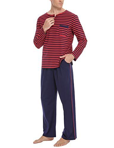 Akalnny Pijamas Hombre Invierno Algodón Manga Larga Ropa de Dormir 2 Piezas Pantalón Camisa Larga Cómodo