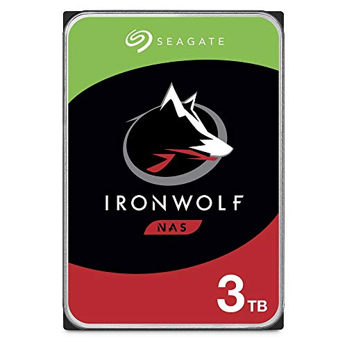 Seagate IronWolf, NAS interne Festplatte 3 TB HDD, 3.5 Zoll, 5900 U/Min, CMR, 64 MB Cache, SATA 6 GB/s, silber, inkl. 3 Jahre Rescue Service, ST3000VN007