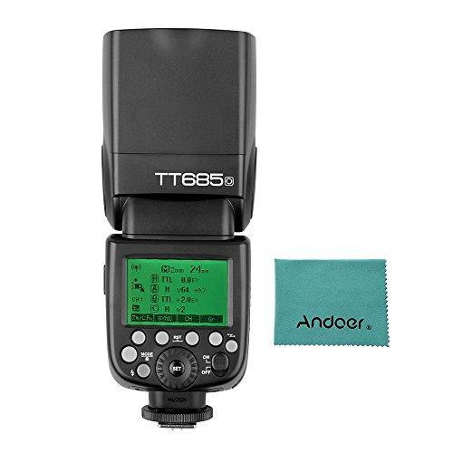 Godox Thinklite TT685O TTL Camera Flash Speedlite GN60 2.4G Wireless Transmission with Andoer Cleaning Cloth for Olympus Panasonic Cameras