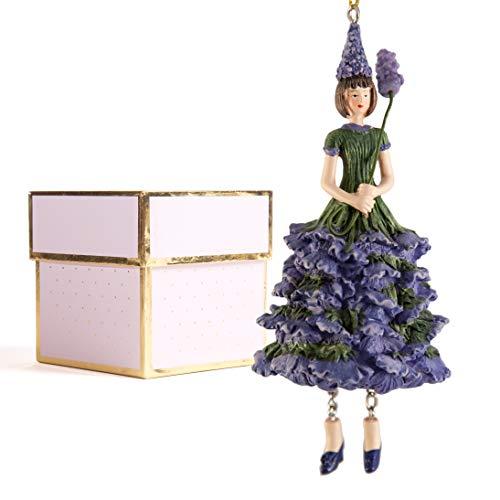 ROSEMARIE SCHULZ Heidelberg Dekofigur Lavendelmädchen zum Hängen mit Geschenkbox/Flower Fairy Figur/Dekofigur/Blumen Skulptur