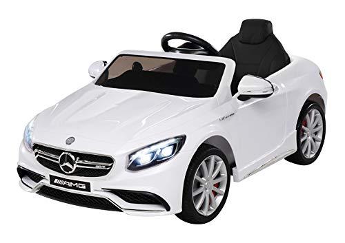Kinder Elektroauto Mercedes Amg S63 - Lizenziert - 2 x 45 Watt Motor – Ledersitz - Sd-Karte – Usb - Mp3,- 12 Volt 10AH – Rc 2,4 Ghz Fernbedienung - Elektro Auto für Kinder ab 3 Jahre (weiss)