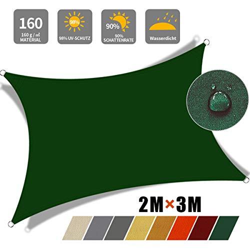 JYYnet Toldo Vela de Sombra, Rectángulo 2×3m Toldo Vela de Sombra Prevención Rayos UV Poliéster Toldo para Terraza Exterior Jardín (2×3m, Verde Oscuro)