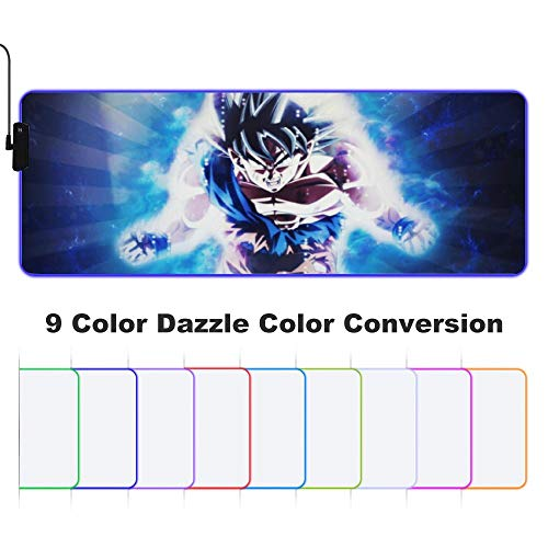 Goku Ultra Instinct Drago-n Bal-l 2 RGB Extended Gaming Mouse Pad XXL Mouse Pad Mat Long Led Mousepad Anti Slip Neoprene Base Edge Stitched for Gaming/Keyboard/E-Sports
