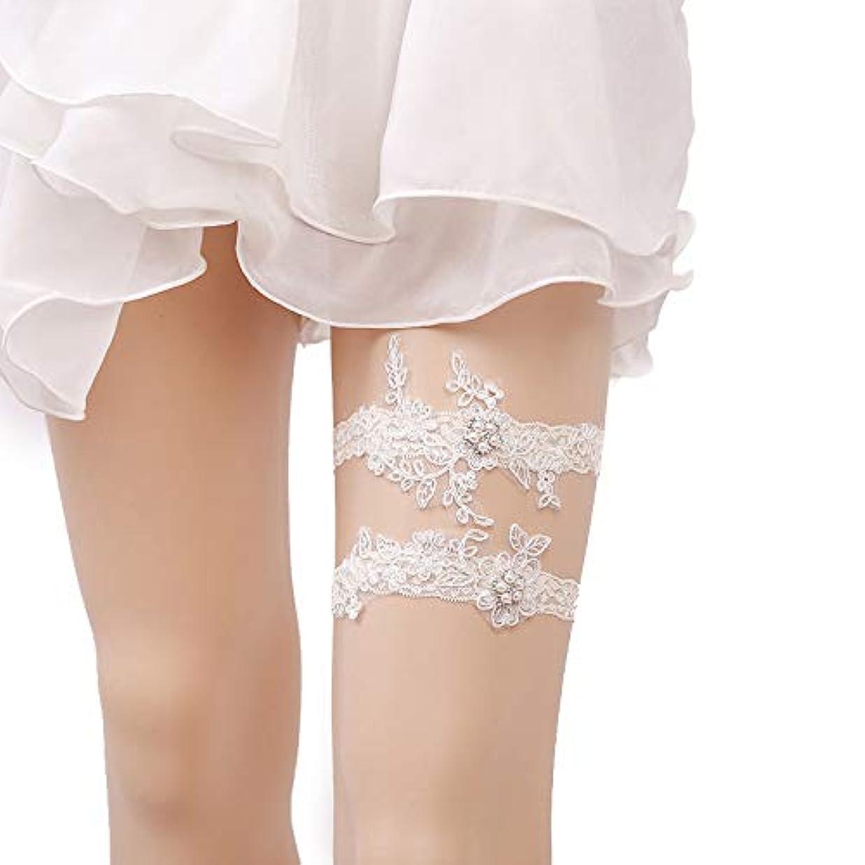 冷淡な実験をするジョリー女性のための花嫁のための女性の結婚式のファッションガーターハンドメイドのレースの花のガーター (白)