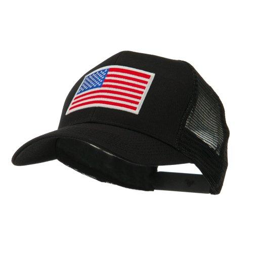 e4Hats.com 6 Panel Mesh American Flag White Patch Cap - Black OSFM