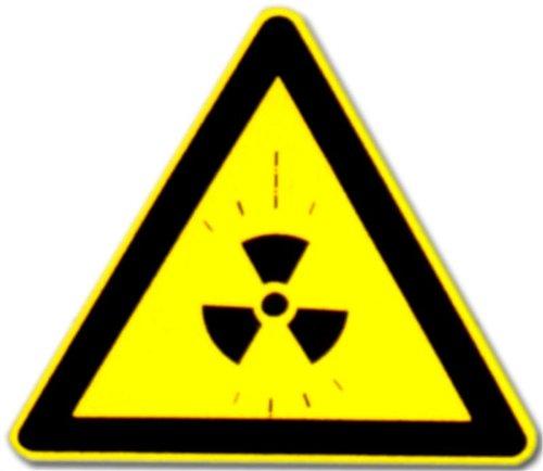 Hinweisschild: Piktogramm - Warnung vor radioaktiven Stoffen oder ionisierenden Strahlen - Schild Warnschild Warnzeichen Arbeitssicherheit Türschild Tür Kunststoff Kunststoffschild radioaktiv Atom Atomkraft