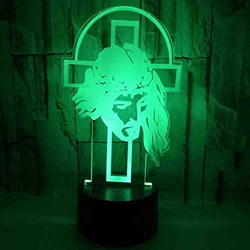 GZGNL Jesus Cross 3D Small Night Light Colorful Touch Thanksgiving Gift Creative 3D Illusion Lamp Christmas Decorations Gift