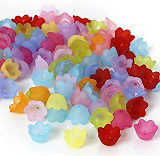 Multicolor Assorted Frosted Acrylic Lucite Tulip Flower Beads for Jewelry Making (10mm)
