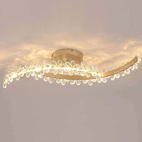 Aplique de metal LED Dormitorio LED Luz de techo Cristal Creativo Flor Lámpara de techo regulable con control remoto Sala de estar Estudio interior Sala de comedor Iluminación Durable y ahorra energía