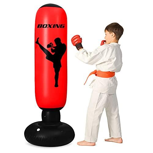 Camebue Boxsack Kinder-160cm Aufblasbarer Boxsack Stehend, Boxsack Kinder Ab 6 Jahre üBen Von Karate, Taekwondo, MMA, Erwachsene Fitness Dekompression Sandsäcke (Boxing)