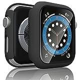 [2 Pezzi] Tobfit Cover Compatibile per Apple Watch 44mm Series 6, Series 5, Series 4, SE 44mm HD Pellicola Protettiva, Custodia Rigida con Vetro Temperato (44mm Per Series 6/SE/5/4, 2*Nero)