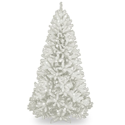 National Tree 7 Foot North Valley White Spruce Tree with Glitter and 550 Clear Lights, Hinged (NRVW7-302-70)