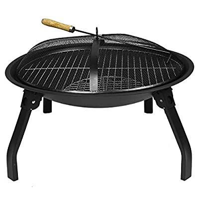 ASAB Folding Cast Iron Round Fire Bowl BBQ Grill Firepit Brazier Garden Log Burner Heater Camping Picnic with Mesh Cover and Poker from