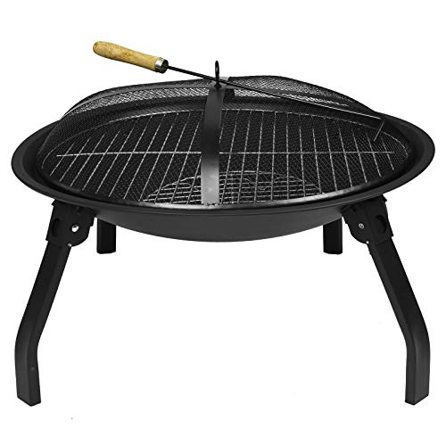 ASAB Folding Cast Iron Round Fire Bowl BBQ Grill Firepit Brazier Garden Log Burner Heater Camping Picnic with Mesh Cover and Poker
