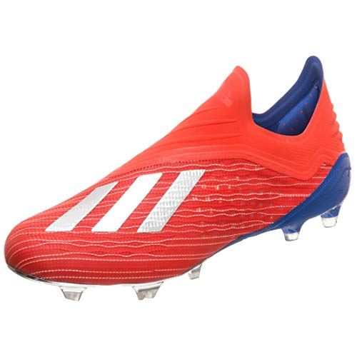 adidas X 18+ FG, Bota de fútbol, Active Red-Silver Metallic-Bold Blue, Talla 6.5 UK (40 EU) ✅