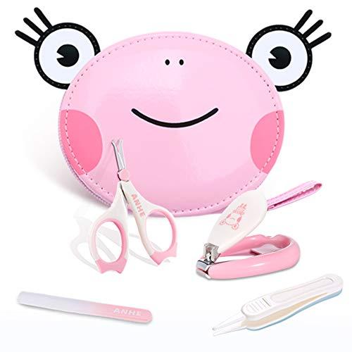 Bobbbiio Babypflege Set Baby Nagelschere Nagelknipser Glasnagelfeile und Nasenpinzette - Nette Karikaturverpackung Ist Einfach Zu Tragen,Pink