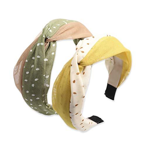 GOBENO Bandeau en tissu pour femmes Version coréenne du nouveau maillage de couleurs croisées assorti au réseau de mèches en mousseline de points rouges pour cheveux (Vert + jaune 2Pcs)