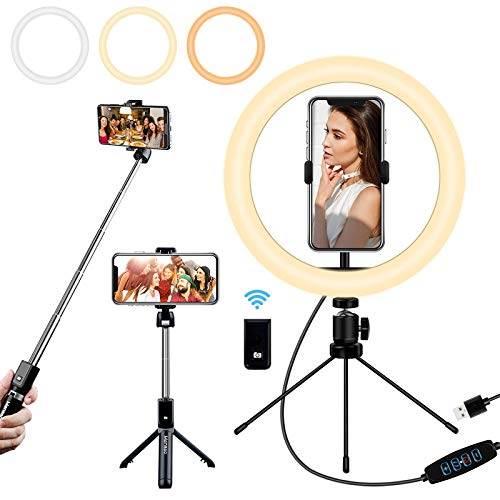 """Mansso Selfie Ring Light with Stand and Phone Holder, 10"""" USB Mini Led Ring Light for iPhone and Android Phone with Portable Extendable Selfie Stick, Circle Light Lighting for Video Recording"""