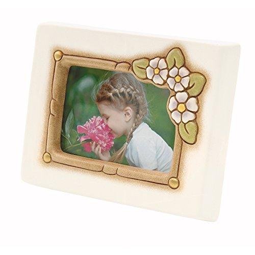 THUN  - Cornice Portafoto Primavera da Tavolo - Formato 10,5x7 cm - Color Avorio - Ceramica