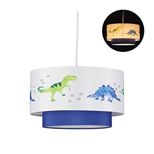 Relaxdays Dino Hängelampe, runder Lampenschirm mit Dinosaurier-Motiv, für Kinder- & Babyzimmer, HxD 126x30 cm, weiß-blau