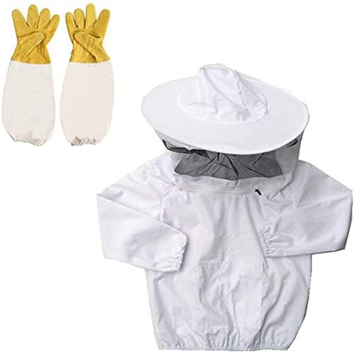 AUCYV Imker-Schutzanzug für Kinder, Imker-Jacke, Überzieh-Jacke, Imker-Schleier, Ausrüstung Anzug mit Hut, Handschuhen, Ausrüstung für Kinder