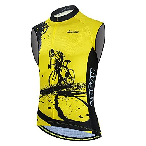 Aogda Cycling Vest for Men Bike Jerseys Team Biking Sleeveless Tops Clothing(X-Large)