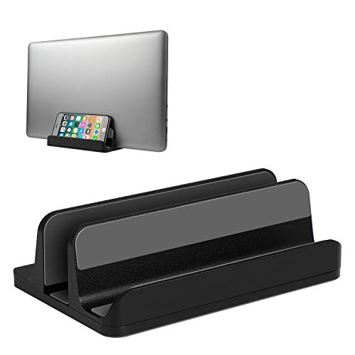 JARLINK (Upgraded Version) Vertical Laptop Stand, Desktop Stand Adjustable Laptop Holder (up to 17.3 inches) Compatible with MacBook Pro/Air, Microsoft Surface, Lenovo (Black)