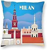 BONRI Stad Gebouw Poster Milaan Italië Retro Reiskaart
