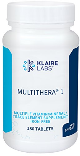 Klaire Labs MultiThera 1 Iron-Free Multivitamin & Multimineral Tablets with Essential Micronutrients - High Potency with Active Folate and No Iron (180 Tablets)