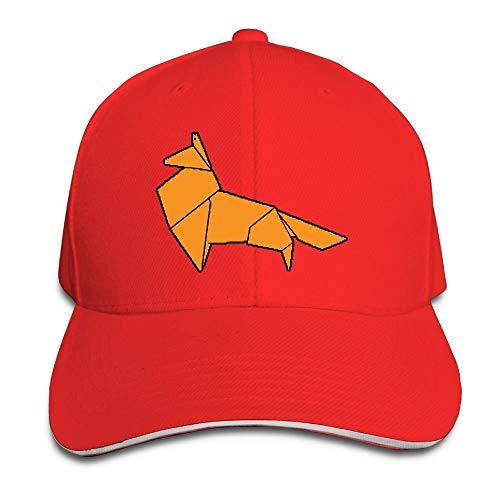 Unisex Paper Origami Fox Adult Adjustable Snapback Hats Baseball Cap
