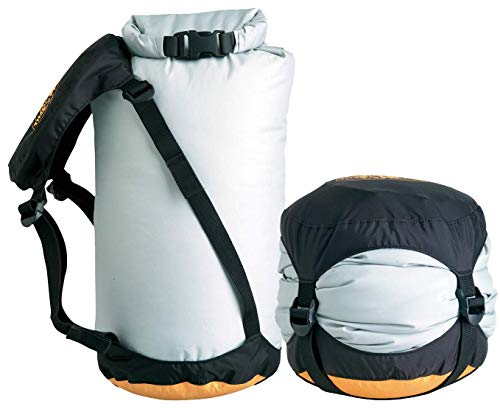 Sea to Summit Event Compression Dry Sack 7 Best use: The best dry bag/compression sack for sleeping bags & other bulky yet compressible items Capacity: 6 liter - a layer, beanie, and gloves Compressed: evenly compresses down to 1/3rd orinial volume with 4 straps; 6L to 2L