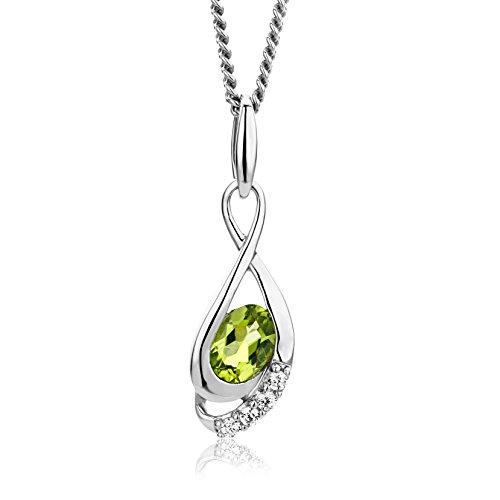 Miore Kette - Halskette Damen Kette Silberfarbig 925 Sterling Silber Rundschliff Zirkonia Steinchen mit Peridot 45 cm